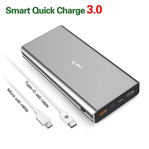 Portable Charger EMNT 22000mAh Portable Power Bank QC 3.0 Output 7A Input 5A, Dual USB External Battery Pack with Type C for iPhone X/8/8 Plus/7/7plus,Samsung galaxys9 s8 s7 Grey