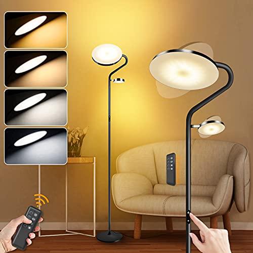 2 LEDs Stehlampe Dimmbar 27W Deckenfluter mit 7W Leselampe mit Fernbedienung, Modern Touch Lampe 2000+400 Lumen, 4 Farbtemperaturen, Stehleuchte für Wohnzimmer, Schlafzimmer, Büro