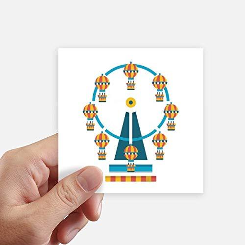DIYthinker Funny Park Incroyable Grande Roue Illustration Autocollant carré 10CM Mur Valise pour Ordinateur Portable Motobike Decal 8Pcs 10cm x 10cm Multicolor