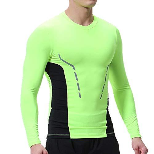 NOBRAND Herren Sport-Strumpfhose, lange Ärmel, atmungsaktiv, schnelltrocknend, Fitnesstraining, Sportbekleidung Gr. XL, grün