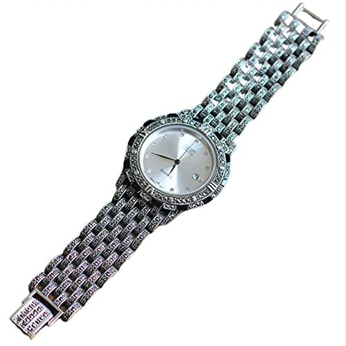 CHXISHOP 925 Reloj de Plata esterlina y Reloj de Cuarzo atmosférico para Hombres y Mujeres con Incrustaciones de la Pulsera de Cara Ancha de Diamante enlaid White-M
