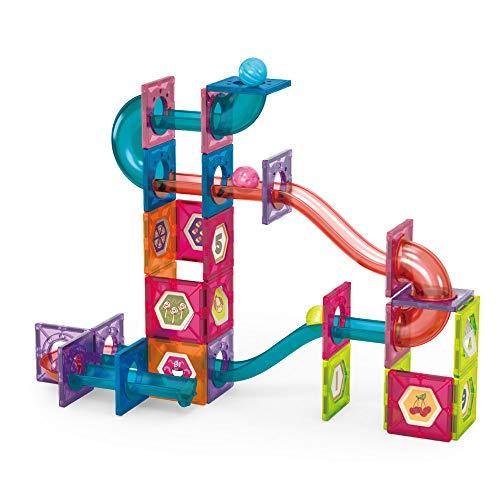 Bluesky Furniture and Playground Tec STEAM: Mehrfarbige Magnetische Bausteine Set (77 Teile), Murmelbahn, Magnetkugelbahn, Marble Run Set, 3D Lernspielzeug, Geschenk für Mädchen und Jungen