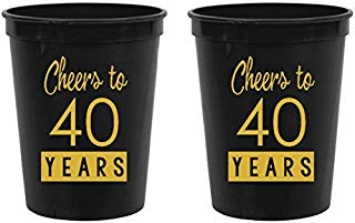 40th Birthday Black Stadium Plastic Cups - Cheers to 40 Years (Pack of 10)