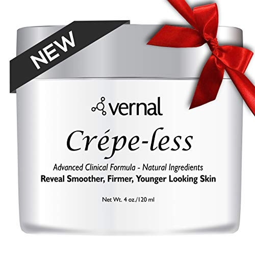 Crepe-less crepey skin firming cream to repair crepey arms, neck & hands. Organic tightening cream to erase crepy skin on arms, neck and body. Best moisturizer to treat saggy, crepe skin. Made in USA