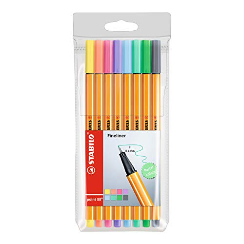Fineliner - STABILO point 88 Pastel - Astuccio da 8 - Colori pastello assortiti