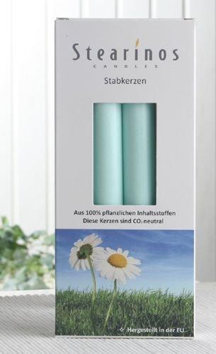 Bio-Kerzen / Stearin-Leuchterkerzen, 4er-Pack, mint-türkis