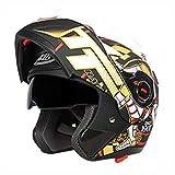 Bluetooth para Hombre Motocicleta Casco para Motocicleta Antiempañamiento para Mujer Doble Lente Flip Up Moto Motocross Cascos XXL