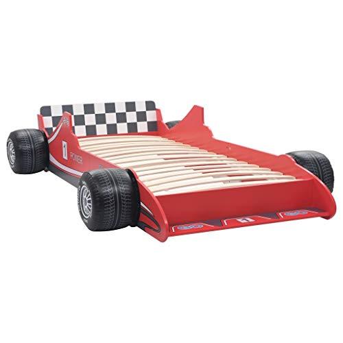 vidaXL Cama con Forma de Coche de Carreras para Niños Mobiliario Infantil Niños Pequeños Diseño Atractivo Funcional Cómoda Confortable 90x200cm Roja