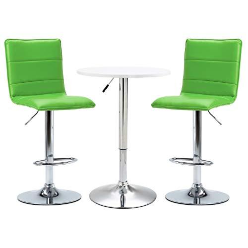 pedkit Taburetes de Bar Mesas de Bar Juegos de Muebles para Bar Set Mesa Alta y taburetes de Bar 3 pzas Cuero sintético Blanco 10#