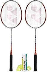 2 pcs Yonex B-350 Light Alloy badminton rackets 1/2 doz (6 pcs) of Yonex Mavis 300 Yellow nylon shuttlecock Head covers are NOT included