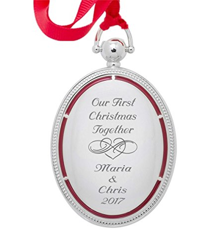 Personalized Silver Photo Locket Christmas Ornament Engraved from USA