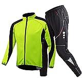 Chaqueta de Ciclismo de Invierno para Hombres Traje de Bicicleta Pantalones de Ciclismo Impermeables de Invierno Térmico Cortavientos de Lana Cálida,Verde,XL