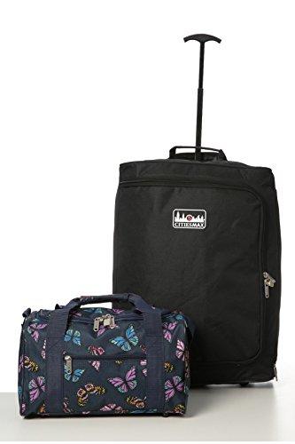 Ryanair bagaglio a mano Set massima - Trolley 55x40x20 cm 35x20x20cm + 2 cabine Tote Bag - Max Pack & prendere due a bordo! (Nero / blu marino farfalle)