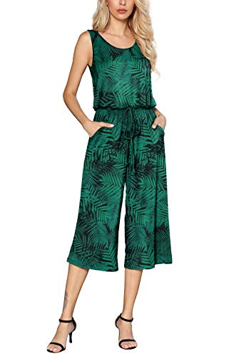 Euovmy Women's Floral Printed Sleeveless Wide Leg Casual Comfy Summer Jumpsuit with Pockets Flower Greenery XX-Large