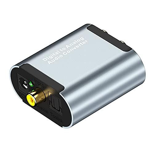 SIGNABOT Convertidor de Audio Digital una AnalóGico con Decodificador de Audio HD de 3,5 Mm, Cable de Fibra óPtica + Cable de Datos USB