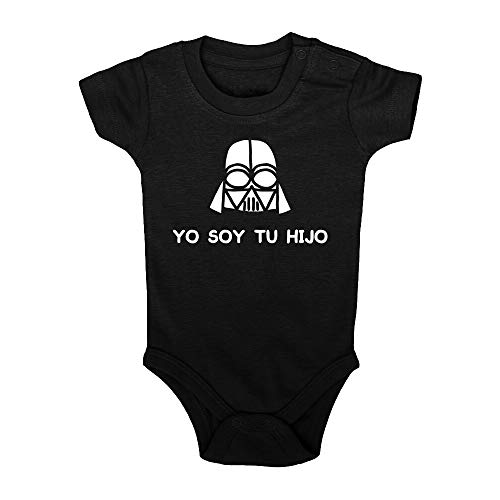 ClickInk Body bebé Yo soy tu hijo. Regalo bebé. Regalos para bebés. Regalo divertido. Regalo original. Body bebé friki. Manga corta. (Negro, 12 meses)
