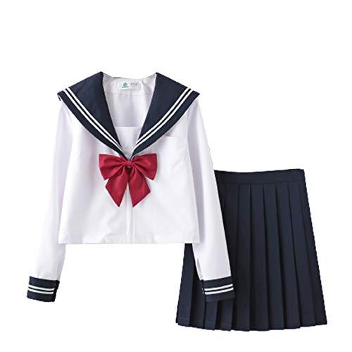 Traje de Uniforme para niña JK, Uniforme Escolar japonés Universidad Escuela Secundaria Uniforme de Marinero Tops Falda Plisada Traje de Cosplay para Estudiantes para Halloween.