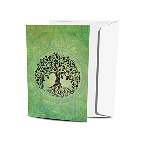 Tree-Free Greetings Conjunto de blocos com tema de Buda ecológico com envelopes, feito nos EUA com papel 100% reciclado em uma instalação alimentada por energia solar, árvore da vida, pacote com 12 (FS56951)