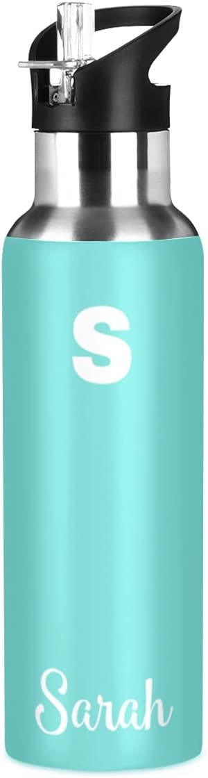 Custom Teal Sports High Max 66% OFF quality new Water Bottle Straw Personalized 20oz with Sta