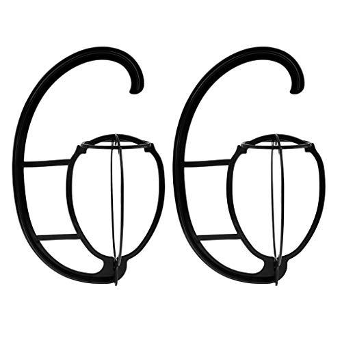 Sharplace 2pcs Perruques Stands Racks, Portable Pliable Perruque Voyage, Stable Et Durable Perruque Cheveux Chapeau Chapeau Stand Support, Outil Affichage Perru