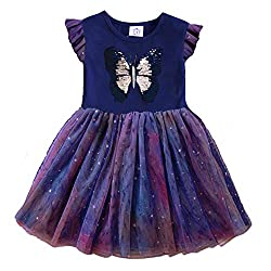 Blue Short Sleeve Tutu Dress with Colourful Ruffles Skirt