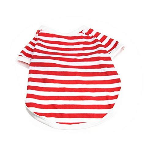 Fenghua klassiek strepen-T-Shirt voor huisdieren, schattig vest, zomerjurk, korte mouwen, rood, XL