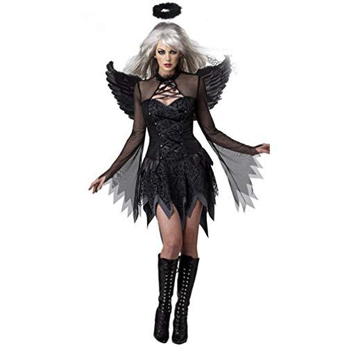 Ulalaza Halloween Frauen Kostüme Schwarze Fledermaus Gefallenen Engel Teufel Vampir Hexe Kleid Erwachsene Cosplay Zubehör
