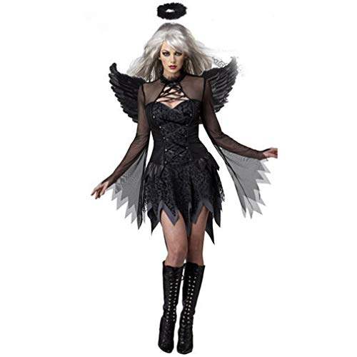 Disfraces de mujer de Halloween Black Bat Fallen Angel Devil Vampire Witch Dress Accesorios de Cosplay para adultos