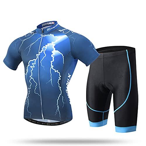 Gnaixyc Jersey de ciclismo para hombre, manga corta + pantalón corto con bolsillo reflectante con cremallera, transpirable, secado rápido, para primavera, verano, al aire libre, bicicleta, talla A, L