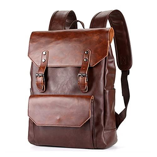Mochila de Laptop Retro de los Hombres de Gran Capacidad Simple y versátil (Color : Brown, tamaño : 14.8x10.5x4.3 Inch)