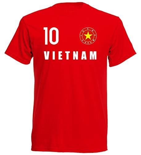 nationshirt T-Shirt Kinder Vietnam Trikot Look Emblem FH 10 R (128)
