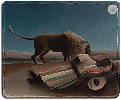 Alfombrilla de ratón de goma natural con la famosa pintura de arte de la gitana dormida por Henri Rousseau – bordes cosidos, 24 x 20 cm