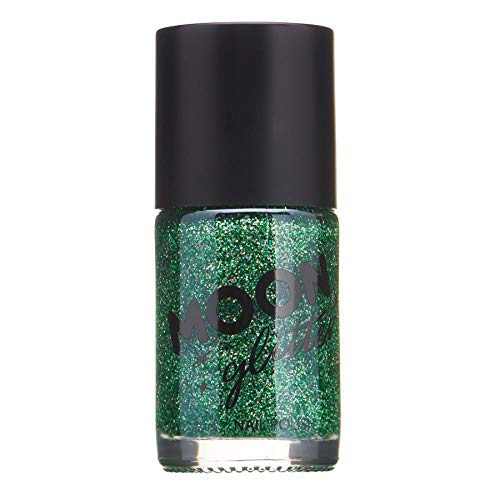 Moon Glitter Holographic Nail Polish, Green, Single, 14ml (Best Glitter Nail Polish Uk)
