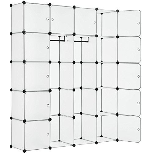 Juskys DIY Regalsystem aus 20 Boxen inkl. 2 Kleiderstangen | 12 Fächer mit Tür | 10 kg pro Box | Kunststoff | weiß | Schrank Garderobe Garderobenschrank