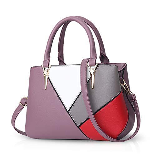 NICOLE & DORIS Handtaschen für Damen taschen Leder Damen Handtasche die neuesten Trends Spleiß Farbe Umhängetaschen Lila