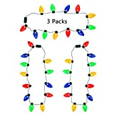 Tinabless Lights Necklace, Bestwin Christmas LED Light, Necklace Light Up Party Favors with 12 LED Bulbs, Best Party Lights Necklace ( 3 Packs)