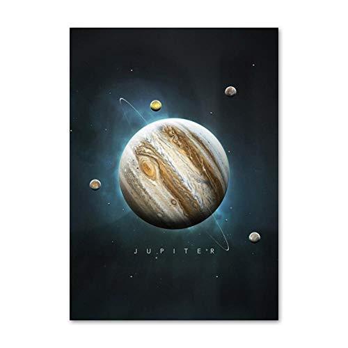 SYLSBAZGYS Planète Terre Jupiter Mercure Uranus Mars Affiches et Impressions Nordiques Art Mural Toile Peinture Mur Photos pour Salon décor Pas de Cadre-A_50x70cm