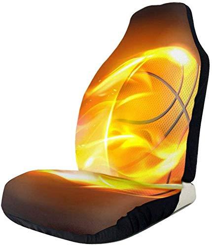 Schapen vliegende basketbal op brand auto voorzijde stoelhoezen, past bijna auto's, vrachtwagens, bestelwagens, SUV 1 PCS Als afbeelding