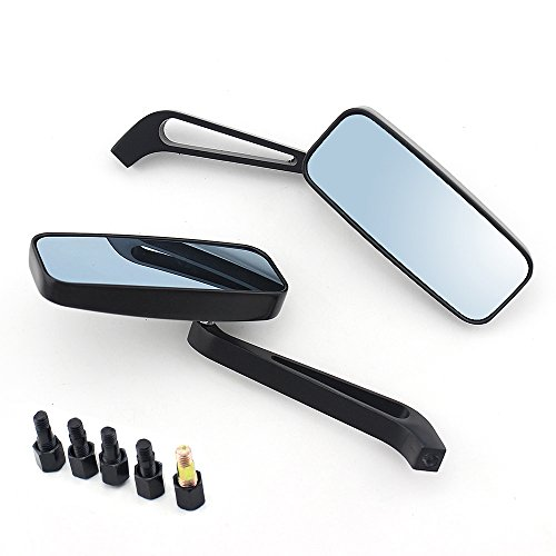 8mm/10mm Black Rectangle Motorcycle Bobber Mirrors Blue Mirror Reducing Glare Motorcycle Rear View Mirrors