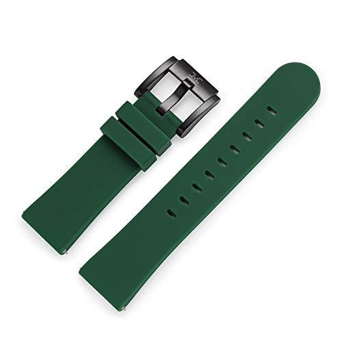 TW Steel Marc Coblen - Correa para reloj de pulsera (silicona, 22 mm, con cierre negro), verde oscuro, Correas.