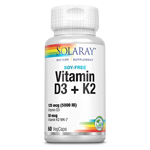 Vitamina D-3 y Vitamina K-2 con Calcio y Fósforo de Solaray | Bote de 60 Comprimidos | D3 K2 (MK-7)