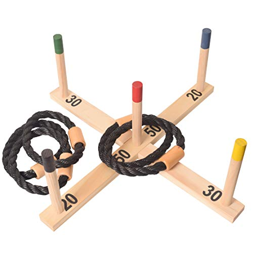 Ring Toss Yard Game for Kids and Adults, Large Size Wooden Backyard Games Including 5 Rope Rings, Easy to Set- Up, Fun for Kids Outdoor Lawn Games