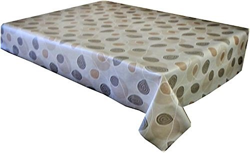 2.5 metres (250 cm x 137 cm) Nappe en vinyle, Beige et marron clair tourbillons. pour s'adapter au jusqu'à une Taille 8 places avec table rectangulaire, facile à nettoyer, Envers textile (220)