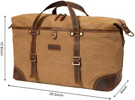 ORIENTAL GLORY Overnight Canvas Duffel Bag for Men Weekender Travel Carry On bag (khaki)