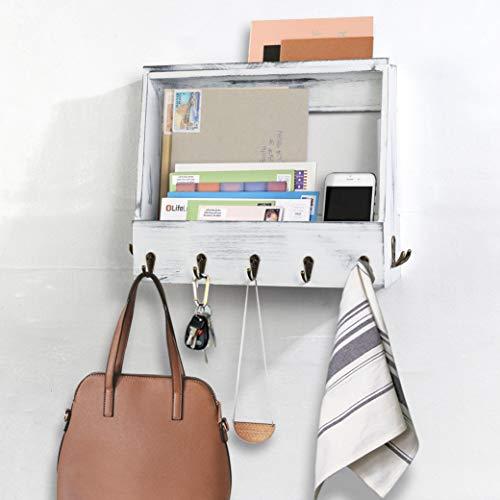 AHDECOR Organizador de llaves con 7 ganchos, revistero de madera para llaves, folletos, revistas, llaves, bandeja para cartas, color blanco rústico