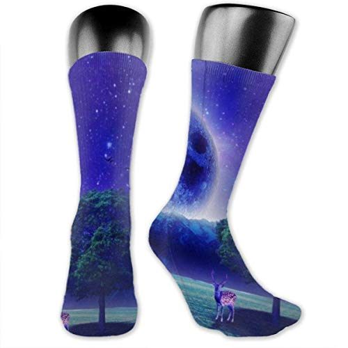 Jxrodekz Unisex Performance Cushion Crew Calcetines Calcetines de Tubo Blue Moon and Tree Deer New Middle High Calcetines Sport Gym Calcetines