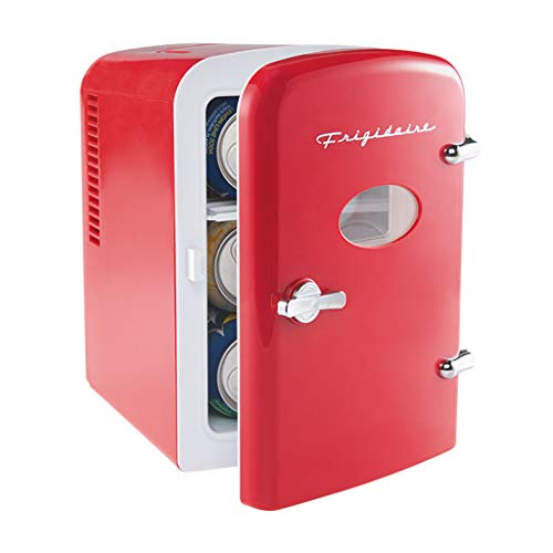 Frigidaire EFMIS129-RED Mini Portable Compact Personal Fridge Cooler, 4 Liter Capacity Chills Six 12 oz Cans, 100% Freon-Free & Eco Friendly, Includes Plugs for Home Outlet & 12V Car Charger (Red)