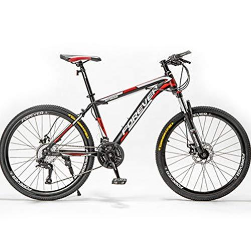 Mountainbike, 24/26 / 27,5 Zoll Stoßdämpfer Mountainbike, Fahrrad Mit Gabelfederung & Beleuchtung, Bike, Mädchen-Fahrrad,Black red,27.5inch