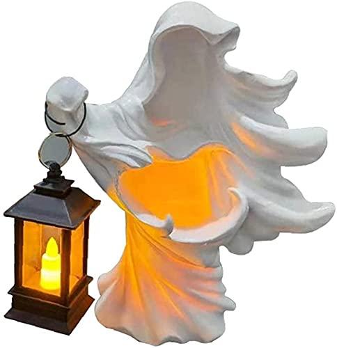 wangYUEQ Decoraciones for el hogar de Halloween y Resina de Halloween Sculpture Ghost Fantasma Fantasma Decoración con Linterna Solar Blanco (Color : Style01)