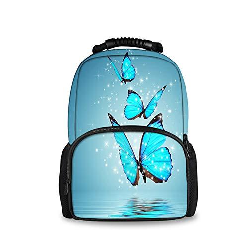 fhdc Mochila Mochila Escolar De Gran Capacidad para Mujer Mochila Azul De Animales De Mariposa 3D Mochila De Libro para Niñas Adolescentes EstudianteH2620